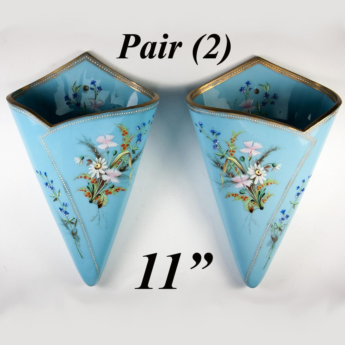 Antique Bohemian Harrach Opaline Vase PAIR, 2 Hanging Wall Pocket Vase, mid-1800, Hand Painted Enamel & Raised Jewel Dots