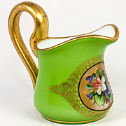 Antique French Opaline Cased And Hand Painted Cream Pitcher, Splendid Art Glass, c.1830-60