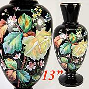 "Antique Bohemian Black Amethyst or Opaline Vase, 13"" Tall, Enamel on Black Glass, Harrach or Moser"