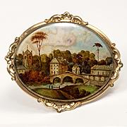 """Rare 2.5"""" Victorian Antique Eglomise Souvenir Brooch, St Bonifacius' Bridge in Bruges, Belgium"""