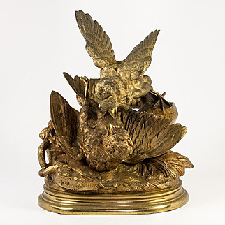 Antique Solid Bronze Moigniez Signed Sculpture, c.1880