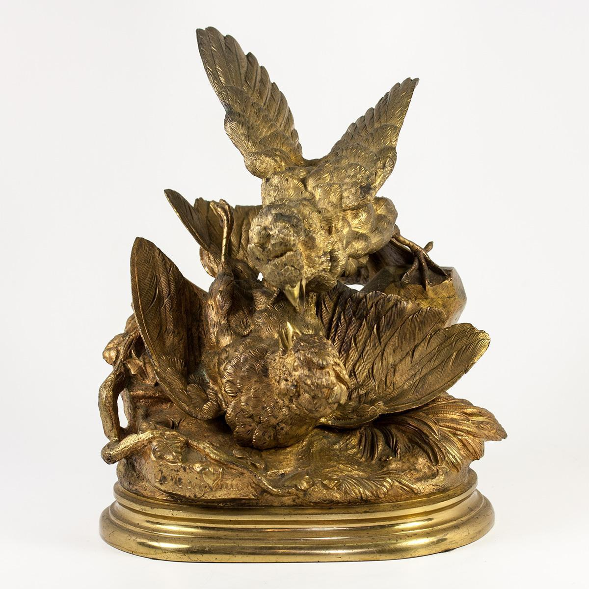 Antique Solid Bronze Moigniez Signed Sculpture, c.1880