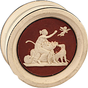 Unique Antique Pottery Snuff Box, Neoclassical Figure, Dog, J. Ipsen, Copenhagen