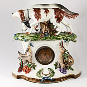 Fun Antique French Clock, Porcelain Case with Hunt Theme, Spaniel Dogs