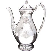 Elegant Antique French Sterling Silver Coffee or Tea Pot, Floral Decoration, Bow & Ribbon