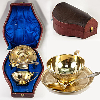 RARE Antique French Sterling Silver 18k Gold Vermeil Chocolate Cup Set, Etui
