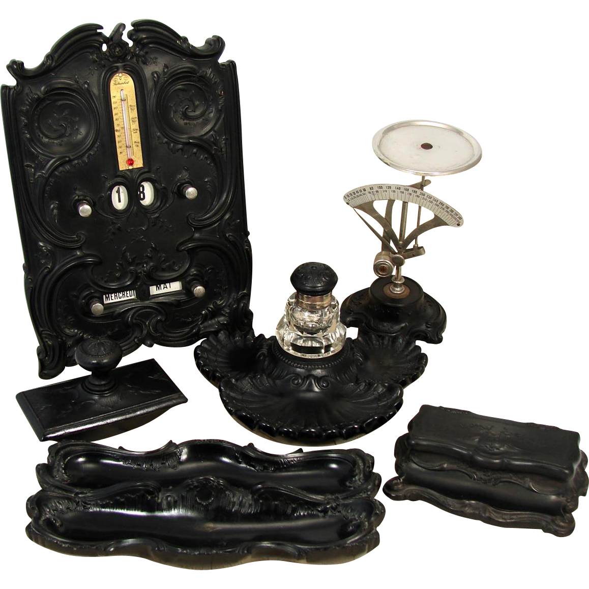RARE 6pc Antique Victorian Era Gutta Percha Desk Set: Perpetual Calendar, Inkwell, Stamps Box, Scale +