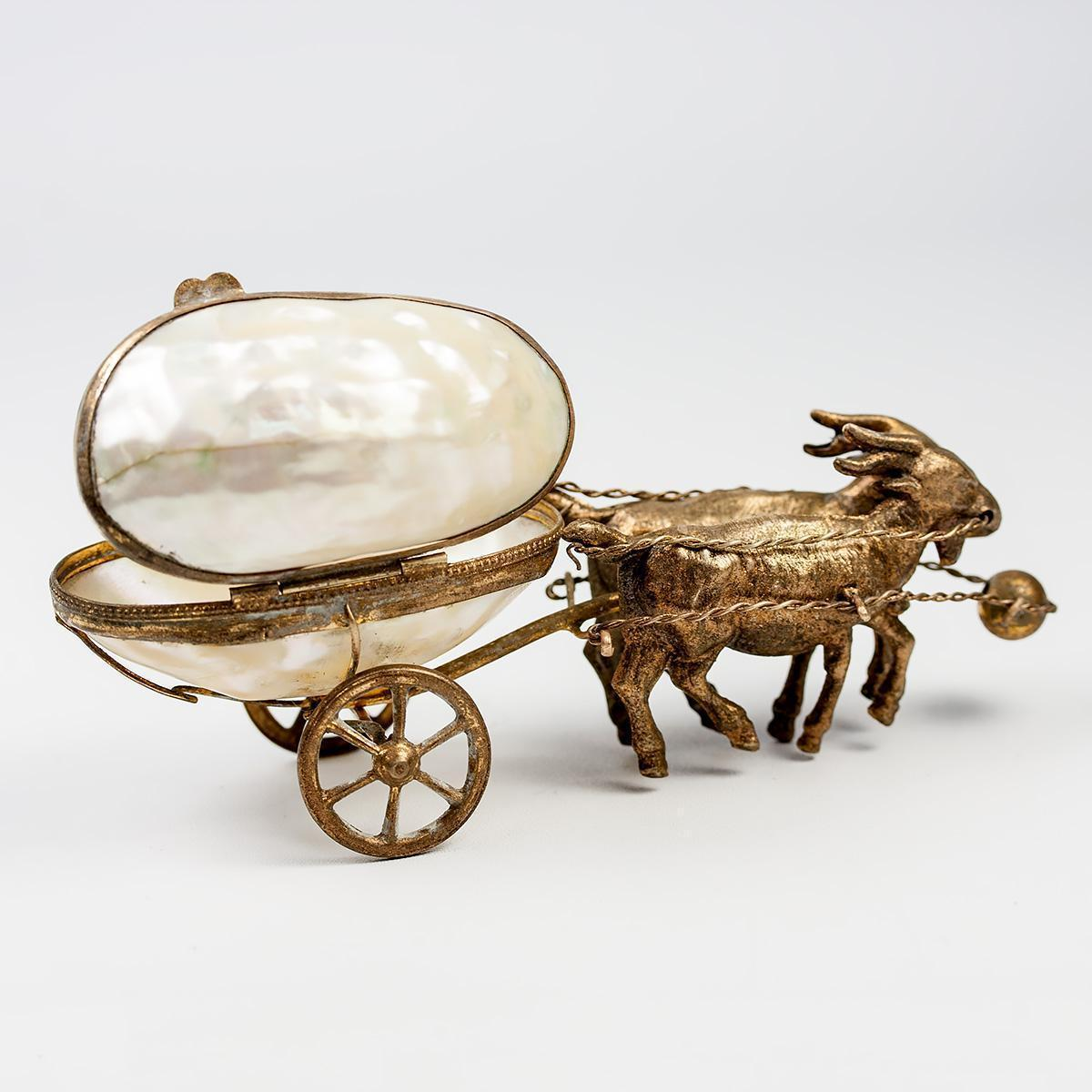 Charming Antique French Goat Cart, Mother of Pearl Egg & Ormolu Carriage