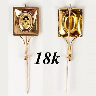 V RARE 1700s Palais Royal 18k Gold & Kiln-fired Enamel Cravat Pin, Tie Pin, Gentleman's Brooch