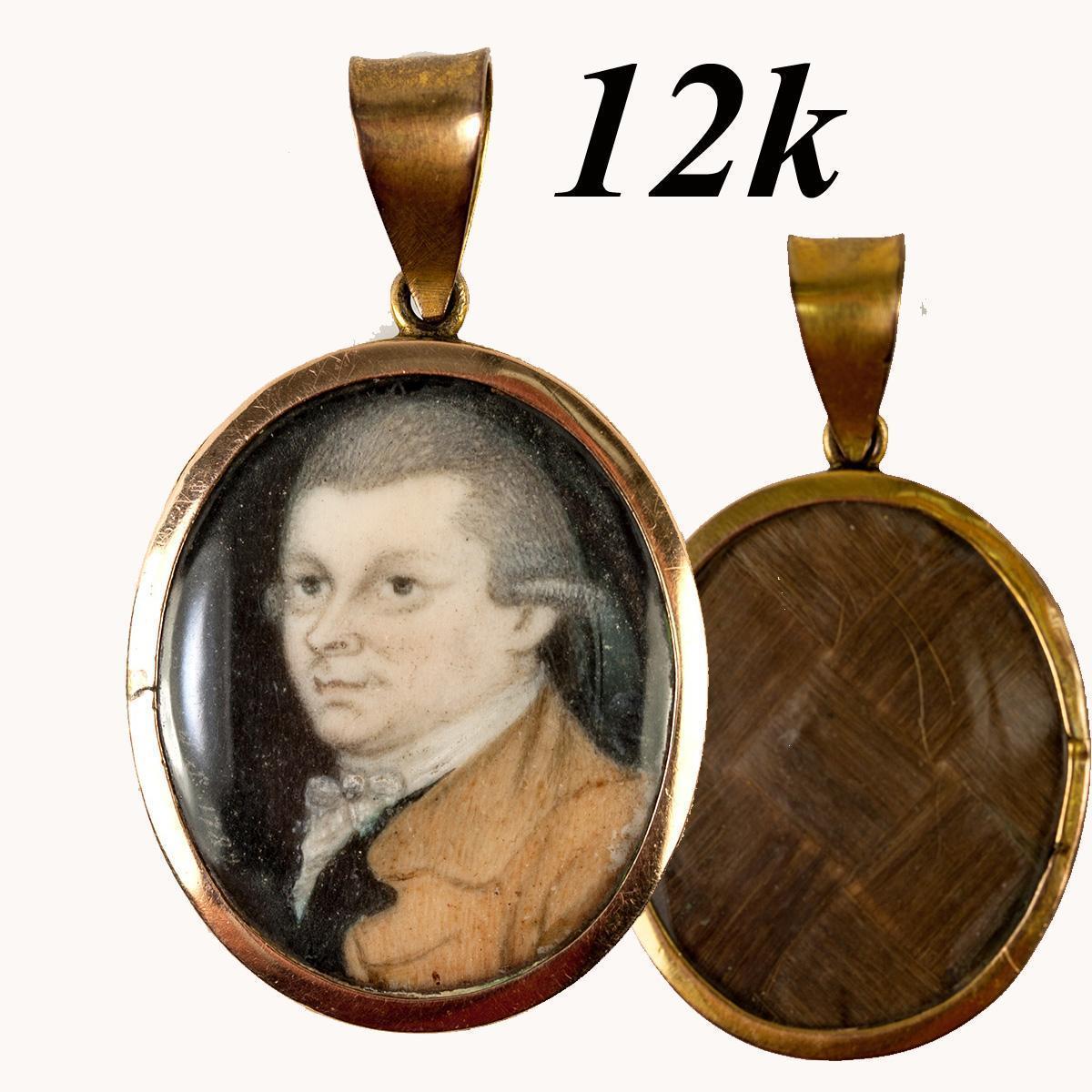 Fine Antique c.1782 Portrait Miniature Pendant, 12k Gold Locket, Hair Back