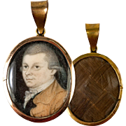 Fine Antique c.1782 Portrait Miniature Pendant, 12k Gold Locket, Hair Back