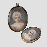 Antique Portrait Miniature of a Baby, Lace Bonnet, in Locket Frame, Pendant