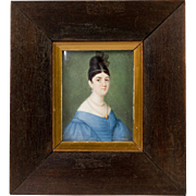 Antique c.1800 Portrait Miniature, Beautiful Woman in Frame, Georgian Pearl Jewelry Shown