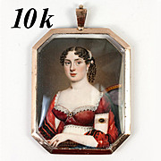 Stunning 1700s Miniature Portrait, Jewelry Painting in 10k Gold Locket Pendant