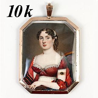 Stunning 1700s Miniature Portrait, Jewelry Painting in 10k Gold Locket Pendant