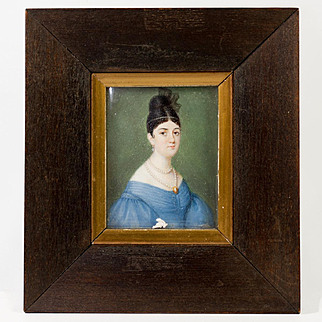 Superb Antique French Empire Portrait Miniature, Woman in Blue Gown, Frame