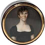 Superb Antique French Empire Portrait Miniature, Woman, Table Snuff Box, Hair Art