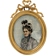 Fine Antique French Portrait Miniature of a Grande Dame, in Dore Bronze Bow Top Frame
