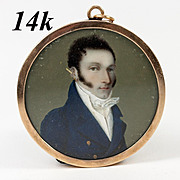 Antique French Portrait Miniature in 14K Gold Locket Style Frame, c. 1780-1830