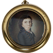 Antique French Portrait Miniature, French Revolution Military Officer, Bronze Frame