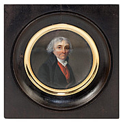 Fine Antique French Portrait Miniature, Gentleman in Red Vest, Revolutionary War Era