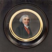 Fine Antique French Portrait Miniature, Gentleman in Red Vest, Revolutionary War Era