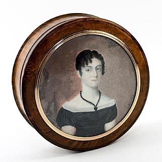 Antique French Portrait Snuff Box, Burled Wood Casket, Napoleon Era Woman's Miniature
