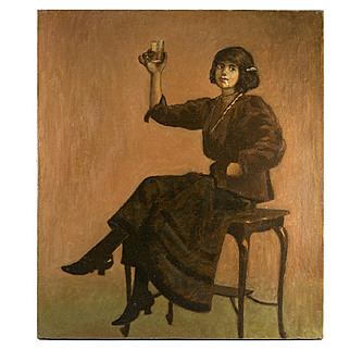 Splendid Antique French Oil Painting, c.1890-1910 Cabaret Bar Girl, Interior