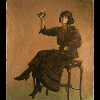 SALE Splendid Antique French Oil Painting, c.1890-1910 Cabaret Bar Girl, Interior