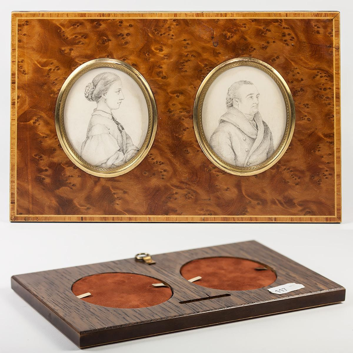 Antique French Portrait Miniature Pair, Drawings, in Elegant Wood Frame c.1830
