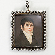 Superb c.1800 French Portrait Miniature, Pearl Pendant Frame, Locket, 2-sided