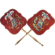 Hand Painted Antique French Silk Heraldry Face Screen Pair, (2), Knight & Shield