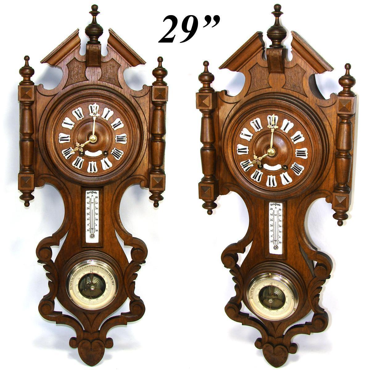 Antique french black forest style carved 29 wall clock barometer lg antique french black forest style carved wood 29 wall clock barometer thermometer amipublicfo Choice Image