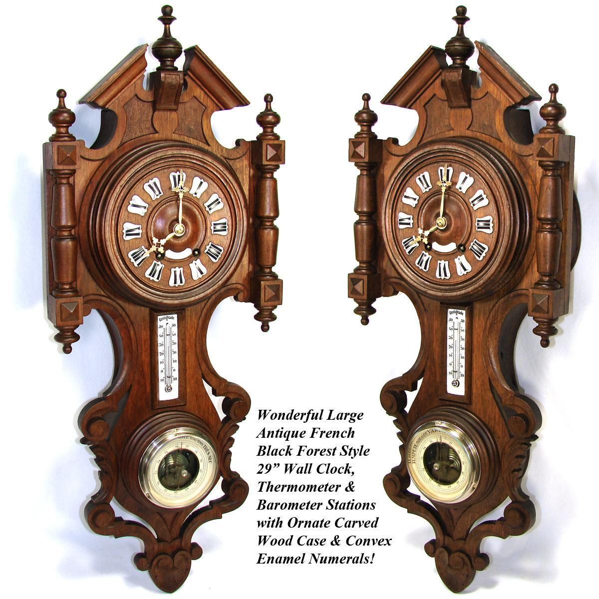 Lg antique french black forest style carved wood 29 wall clock roll over large image to magnify click large image to zoom amipublicfo Images