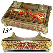 "LG Antique French Charles X Era 13"" Boulle Double Inkwell or Inkstand, Figural Bronze"