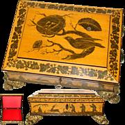 Rare Antique French Chocolatier's Casket or Regency Era Sewing Box, Penwork Decoration