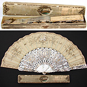 Gorgeous Antique French Vanity Fan, Pearl with Silver & Vermeil Inlay and Original Box