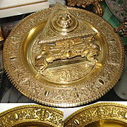 "Ornate Antique Victorian Era Gilt Bronze Inkwell, Figural Urn Style Well on 9"" Base"