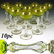 Set of 10 Saint Louis Crystal Beethoven Chartreuse Gold Encrusted Wine Hocks, Goblets