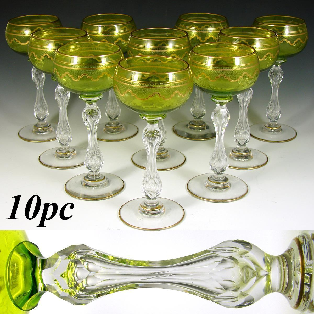 Set of 10 Saint Louis Crystal Beethoven Chartreuse Gold Encrusted Wine Hocks, Goblets