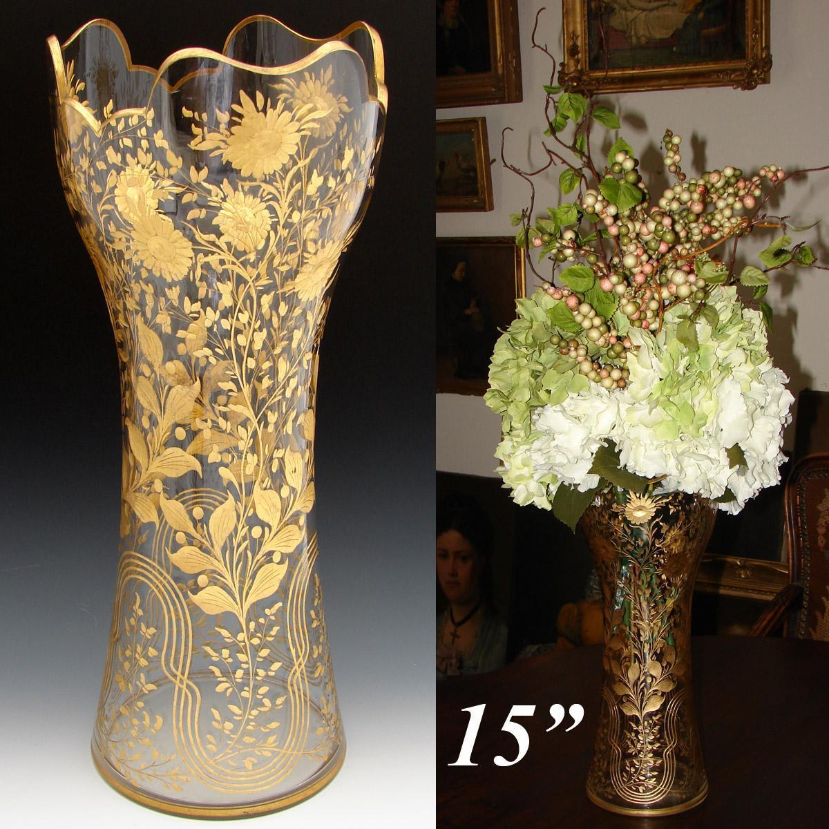 """HUGE Antique French or Moser 15"""" Flower Vase, Cut Glass & Ornate Floral Intaglio & Gold Enamel Decoration"""