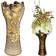 "HUGE Antique French or Moser 15"" Flower Vase, Cut Glass & Ornate Floral Intaglio & Gold Enamel Decoration"