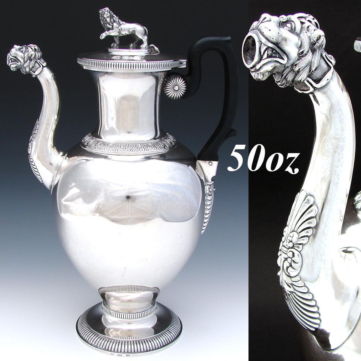 RARE Important Antique Swiss Sterling Silver 50 oz Coffee or Tea Pot, LION Figural Spout & Finial, Georg Adam Rehfuss, Bern c. 1830s
