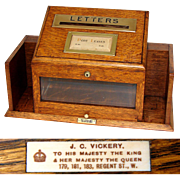 Antique English Victorian to Edwardian Era Oak Hotel or Office Mail, Letter Box, J.C. Vickery Maker
