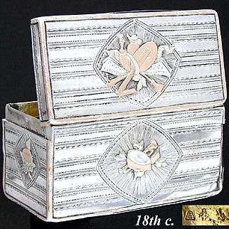 """Rare 18th C. Antique French Sterling Silver & 18k Gold 3"""" Snuff Box, Musical Instrument Medallions"""