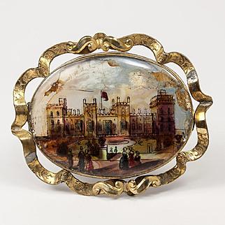 Large Victorian Eglomise Sourvenir Grand Tour Brooch, Buckingham Palace, c.1840