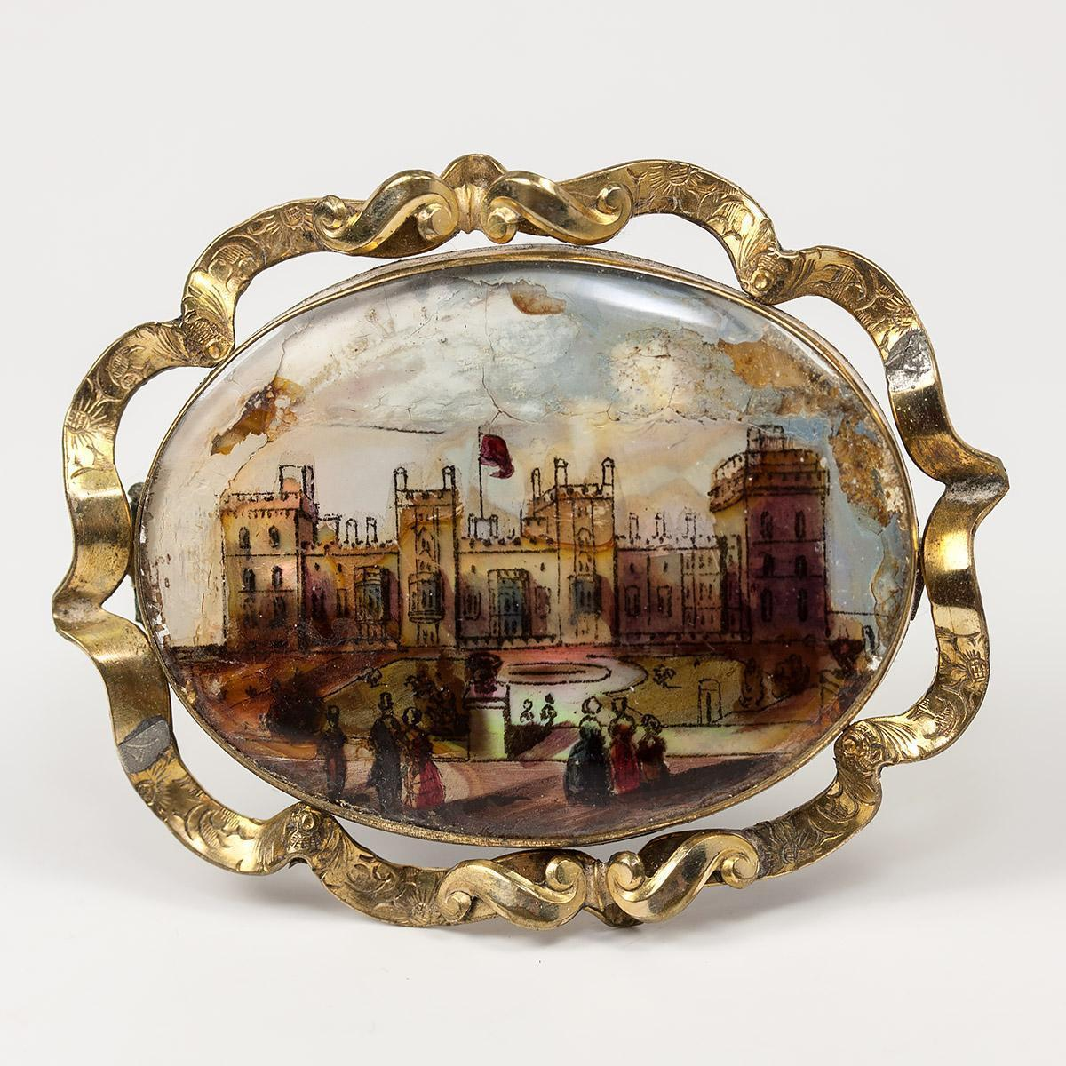 Large Victorian Eglomise Sourvenir Grand Tour Brooch, Buckingham Palace, c.1840