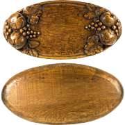 "Fine Hand Carved Wood Fruit Tray, Centerpiece, Antique 21"" Tray, 3-D, Signed"