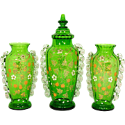 "Lovely Antique Victorian Era Green Glass 3pc 13"" Covered Urn & Vase Pair Set, Raised Floral Enamel"