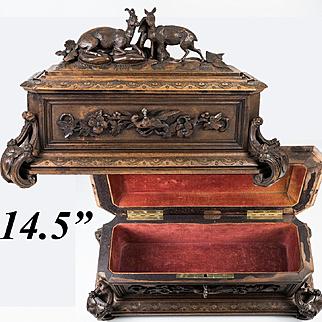 "Antique Black Forest 14.5"" Jewelry Chest, Box, Casket w Chamois Goats, Pheasant, Lock & Key"